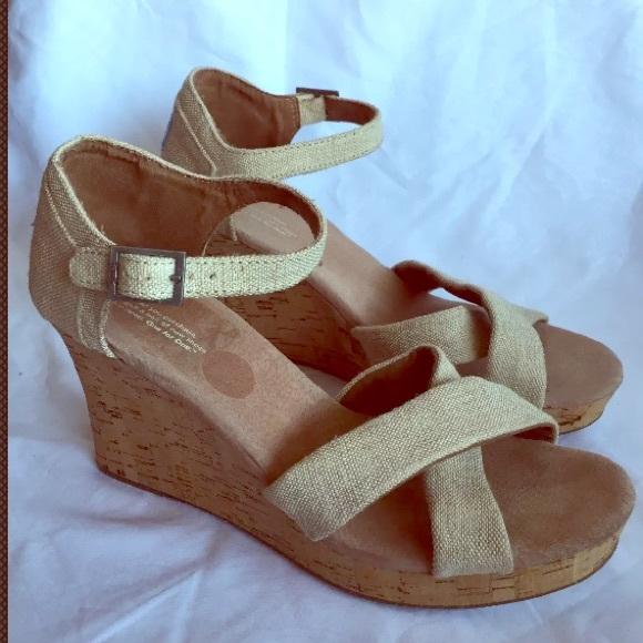 da6b76f1ed9b Toms Wedge Sandals Beige Cork Heeled Size 12